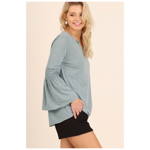 Tops - Blue Top with Bell Sleeves/Keyhole/Criss Cross S/M